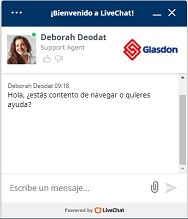Servicio Chat en Vivo Glasdon - Hable con un experto